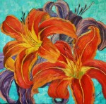 oil painting orange lilies flowers