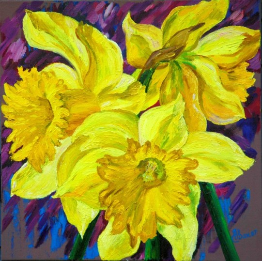 oil painting yellow daffodils flowers