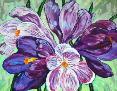 oil painting crocuses flowers