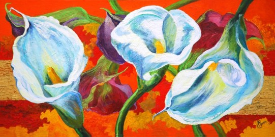 oil painting white calla lily flowers