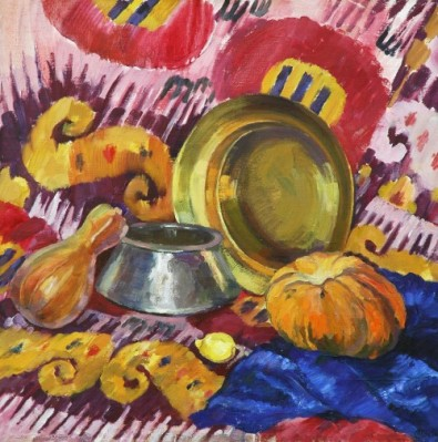 Ikat oil panting still-life flowers