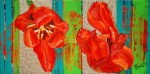 oil painting red tulips flowers