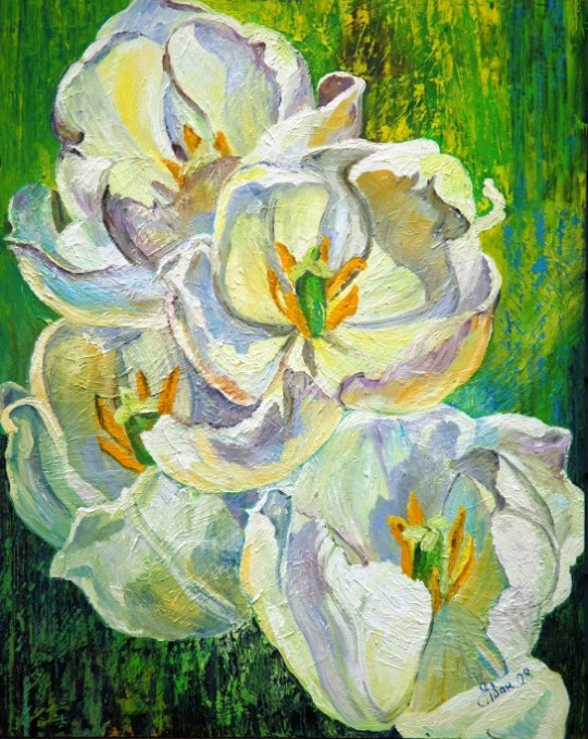oil painting white tulips flowers