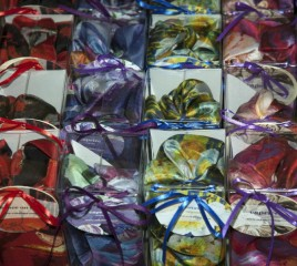 Scarves in gift boxes