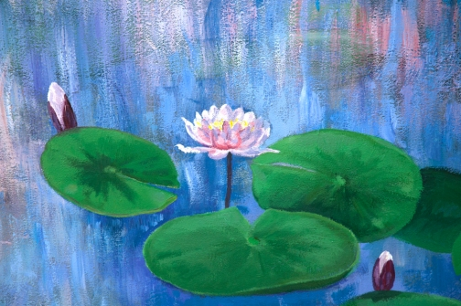 "Commission ""Water Lilies"" acrylic painting 8' x 10'/ 244cm x 304cm"