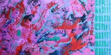 """Hot mixed media on canvas 48"""" x 24"""" $1,600"""