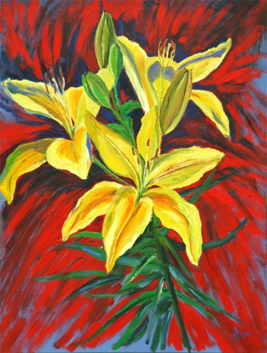 """Lilies of Expectation oil on canvas 39.5"""" x 29.5"""" $1,600"""
