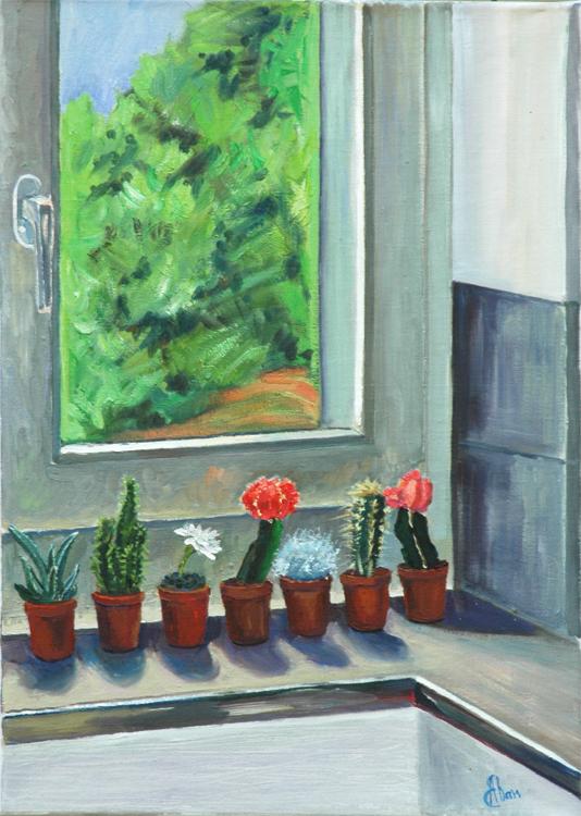 Window in Meggen, oil on canvas